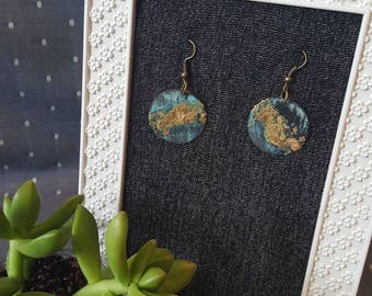 Oxidized brass with gold leafing