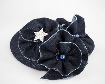 fascinator, fascinator, blue denim and rhinestones