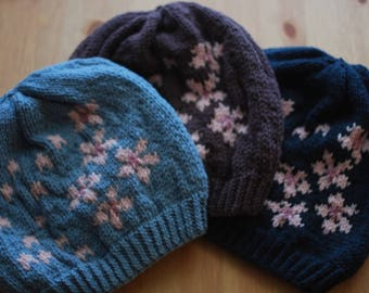 Cherry Blossom Hat, Knitted hat, beanie, stranded hat