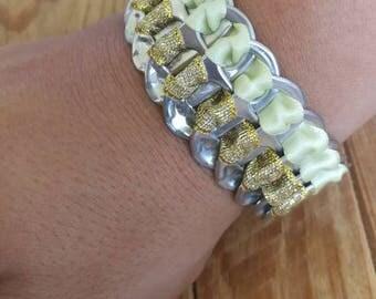 Bottle Cap bracelet tied with ribbons