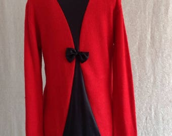 Women's top blouse/Red/Backless long/long sleeve /Vintage 1980s/size/ L