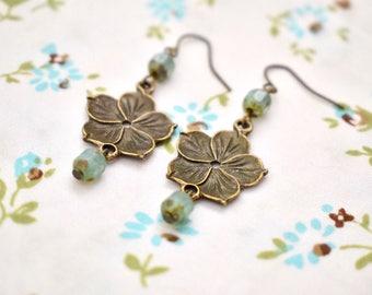 Bronze long earrings, czech beads earrings, Flower earrings, Bronze Jewelry, Gift for her, Vintage earrings