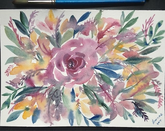Muted Rose Floral Painting 7x10 in