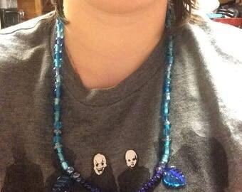 Blue leaf necklace