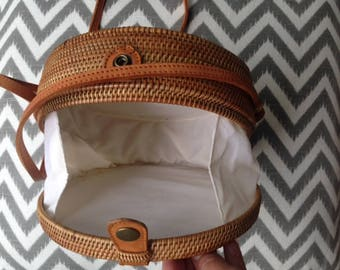 Lanta bag, classic round straw bag, hands free bags, crossbody bag, boho round shoulder bag, handmade straw bag, rattan bag, handwoven bag