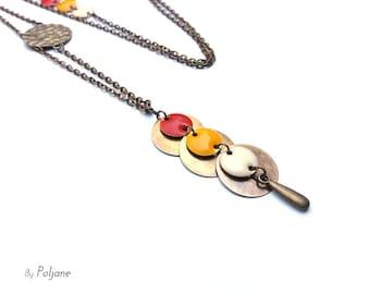 Bronze necklace yellow orange sequins ivory ♦ necklace bronze long necklace