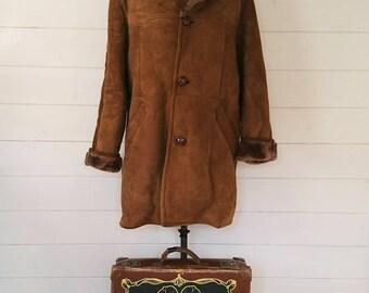 "Genuine Vintage Retro ""Richard Draper"" 1960s 1970s Sheepskin Fur-lined Winter Coat"