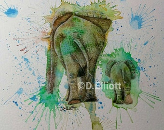 Original watercolour and pencil painting of mother and baby elephants