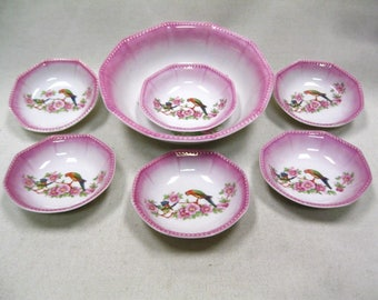 Vintage OG Porcelain Fruit Bowls Serving Bowl Set Birds Pattern Otto Grunert Germany