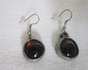 Retro Amber Glass Modern Look Pierced Dangle Earrings