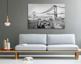 The Manhattan Bridge under construction in March 1909 canvas print