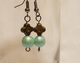 Mint Green and Antique Bronze Fish Hook DangleEarrings