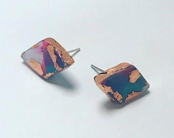Gold Leaf Diamond Earrings / Polymer Clay Earrings