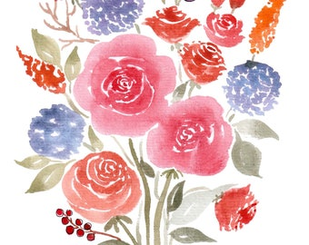 Roses Bouquet Card -A5