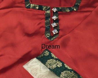 Pakistani Kurti Silk Party Wear Custom Size 36 - 38