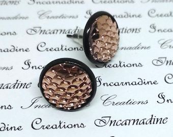 Rose gold/copper iridescent mermaid dragon scale post stud earrings