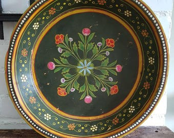 Vintage hand painted gipsy bowl/folk art,painted wooden bowl