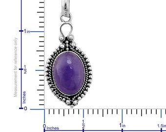 Natural Purple Jade Pendant/ Sterling Silver Pendant/ Fine Jewelry/ Stone Pendant