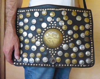 Authentic Old Leather BAG Guerrab Boho Sac Cuir + Antique Coins Nomad Computer Bag Maroc Porteur d eau GUERRAB