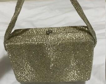 silver vintage beaded handbag