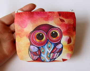 Owl Purse, Coin Purse, Zip Pouch, Make-up Bag, Cosmetic Purse, Cosmetic Storage, Baby Gift, Womens Gift, Zip Purse, Owl Gift, Toiletry Purse