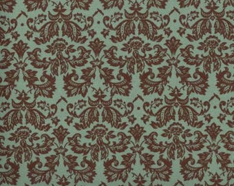 Chocolate Brown on Green Fabric - Petite Damask - Quilt Fabric - Brown Fabric - Green Fabric- FREE US Shipping