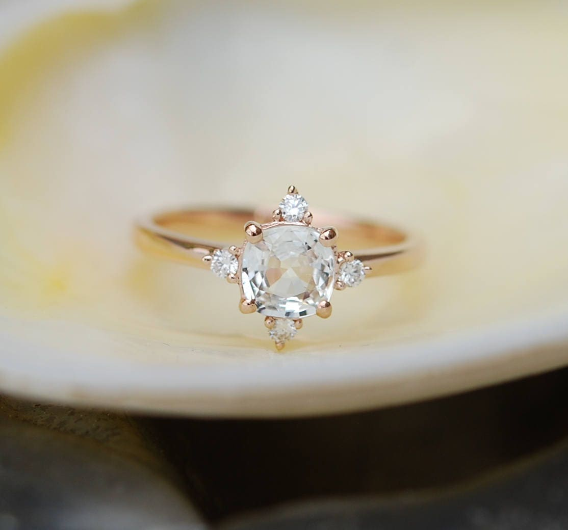 Champagne sapphire engagement ring promise ring cushion champagne sapphire engagement ring promise ring cushion engagement ring 5 stone ring rose gold engagement ring gemstone eidelprecious junglespirit Images