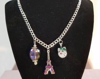 Crystal Kitty cat/Bling Eiffel Tower necklace