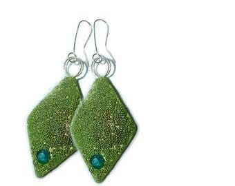 Turquoise Earring.Green Earring.Lizard Skin Earrings,Studio made.Polymer clay.Gift idea, jewelrySilver wire earrings,green crystal Swarovsky