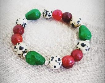 Colorful gemstones bracelet with dalmatian jasper stones