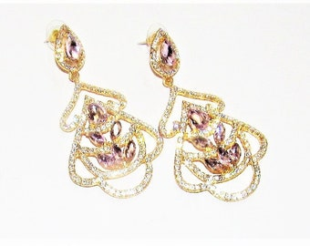 Light Pink and White Gold Plated Chandelier Earrings