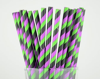 Green/Black/Purple Striped Paper Straws - Party Decor Supply - Cake Pop Sticks - Party Favor