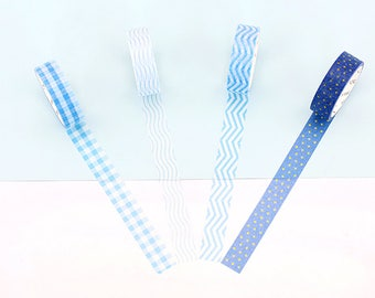 Set of 4 Rolls Blue Chevron/Star/Checkered Washi Tape - 15mm x 7m - Gift Wrapping - Decorative Tape - Scrapbooking Sticker