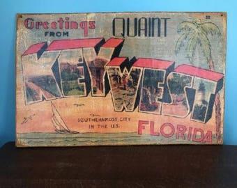 Vintage Large Wood Key West Florida Vacation Postcard Man Cave