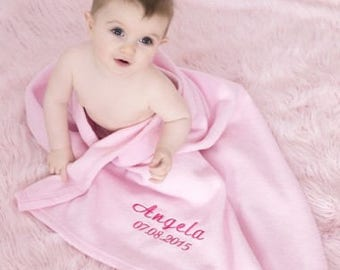 Personalised Baby Fleece Blanket - Large Pink Fleece Blanket - Baby Blanket