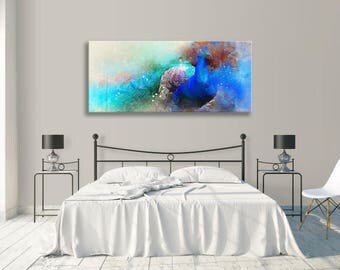 Peacock Blues Abstract Watercolour Canvas Panorama Wall Art Picture Home Decor