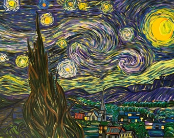 "Van Gogh - Starry Night - Re-production [Hand Painted] Oil Painting 18"" X 24"" by KateXu"