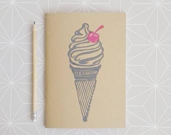 Ice Cream Notebook, Travel Journel, Lino print Sketchbook, Travelers notebook, A5 Notebook, Handprinted Journel, Ice cream stationary.