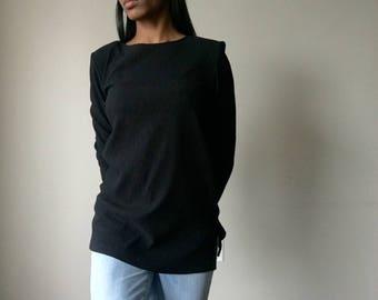 Kathie Lee Long Sleeve Black Blouse