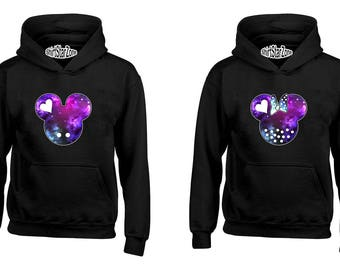 Couple Hoodies Cartoon Character Galaxy Head His and Her Couples Cute Matching Love Couples Valentine's Day Gift