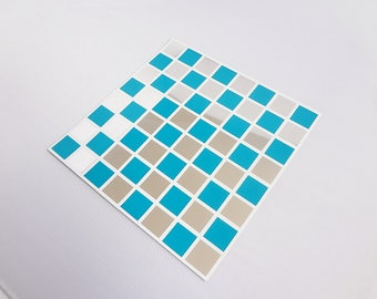 Pack of 10 Blue and MIRROR mosaic tile stickers transfers, with added gloss affect, just peel and stick, bathroom kitchen