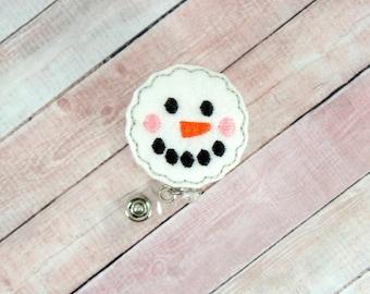 Snowman Badge Reel - Winter Badge Holder - Snowman Badge - Badge Reel - Feltie Badge Reel- Retractable ID Badge Holder - Badge Pull