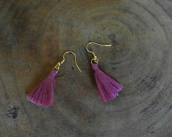 Purple tassels earrings