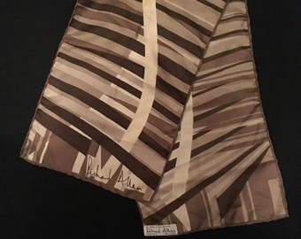 Lovely Vintage Abstract Silk Hand Rolled Scarf from Richard Allan