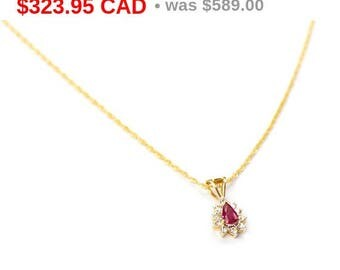 45% SALE! Ruby and Diamond Necklace