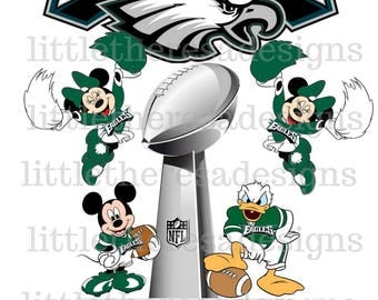 Mickey and Minnie and Donald Eagles Football Champions Digital Image,Diy