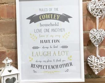 Homemade Personalised Family Rules Print