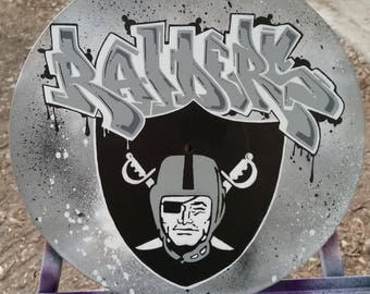 custom graffiti style Oakland Raiders vinyl record