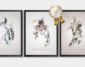 Assassins Creed Art Bundle - Ezio Poster Print - Assassins Creed Wall Art - Ezio Portrait - Game Wall Decor - Game Art - Connor Drawing