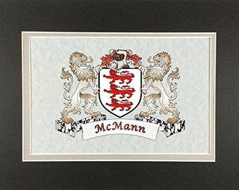 "McMann Irish Coat of Arms Print - Frameable 9"" x 12"""
